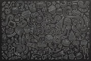 Chalkboard set of holidays objects