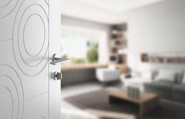 Porta aperta ospitalità soggiorno salotto