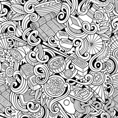 Cartoon hand-drawn doodles of japanese cuisine seamless pattern