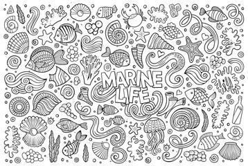 Line art set of marine life objects