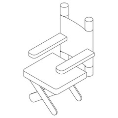 Cinema director chair icon, isometric 3d style
