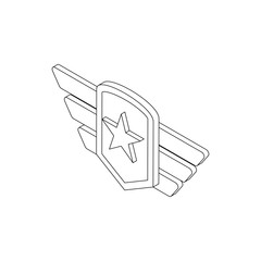 Army emblem icon, isometric 3d style
