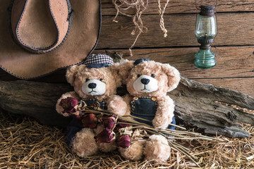 Two teddy bears holding dry flowers and take a photo in barn studio, love and friendship concept
