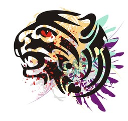 Grunge growling tiger head. Flaming tiger head with feathers and blood drops