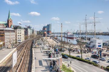 Hamburg Landungsbruecken with Elbphilharmonie HDR