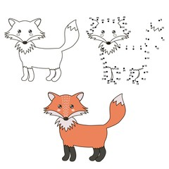Cute cartoon fox. Coloring and dot to dot educational game for kids. Vector illustration