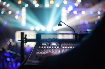 Working sound panel on background of the stage