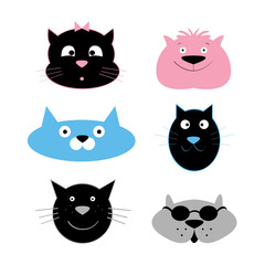 Cat faces vector. Cartoon characters