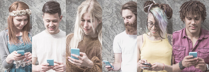 People using smart phones. Composition and collage image style