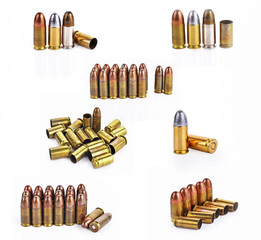 Bullet, bullet casings isolated on white background