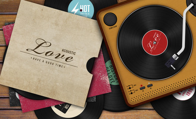 record player and vinyl record on wooden background