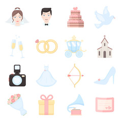 Weeding set of vector icons. Bride and groom concept in cartoon style.