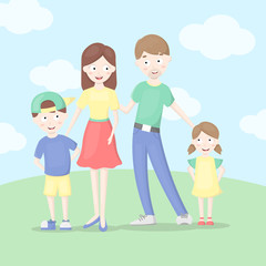 Family concept. Vector illustration of mom, dad,son,doughter.