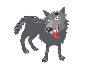 Gray wolf. Cartoon, toothy wolf grey