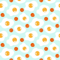 Cute seamless breakfast pattern with eggs and sausages