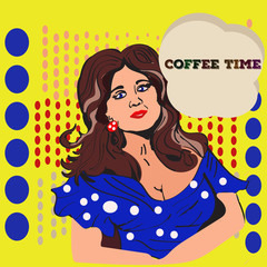 elegant girl ask for coffee time
