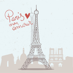 Paris mon amour Eiffelturm Vektor