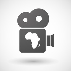 Isolated cinema camera icon with  a map of the african continent