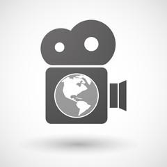Isolated cinema camera icon with an America region world globe