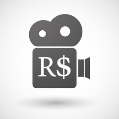 Isolated cinema camera icon with a brazillian real currency sign