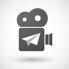Isolated cinema camera icon with a paper plane