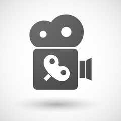 Isolated cinema camera icon with a toy crank