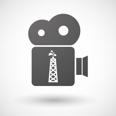 Isolated cinema camera icon with an oil tower