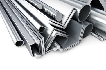metal pipes, angles, channels, squares. 3D rendering, on a white background
