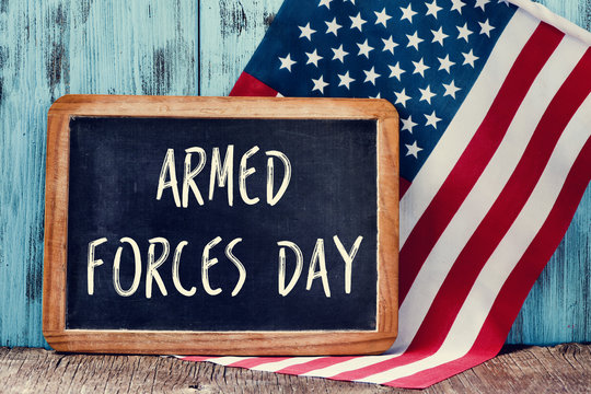 text armed forces day and flag of the United States