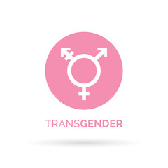 Transgender icon. Transgender sign. Pink transgender symbol on white background. Vector illustration.