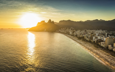 Aerial view of sunset on the beach in Rio De Janeiro, Brazil