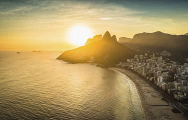 Aerial view of sunset on the beach in Rio De Janeiro