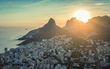 Aerial view of sunset behind the mountains in Rio De Janeiro