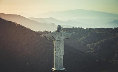 Aerial view of Christ and Botafogo Bay from high angle, Rio De Janeiro