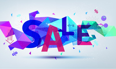Vector sale banner. Colorful origami faceted background