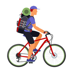 Bicycle travel. A man with a backpack
