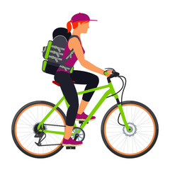 Bicycle travel. Woman with a backpack