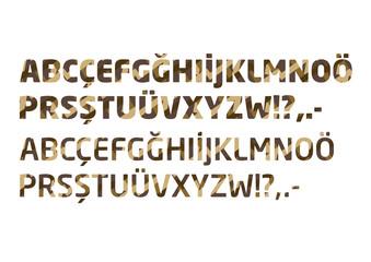 Renkli harf ve rakamlar, Alfabe