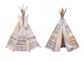 Watercolor teepee, arrows, fearhers and tomahawk. Boho america