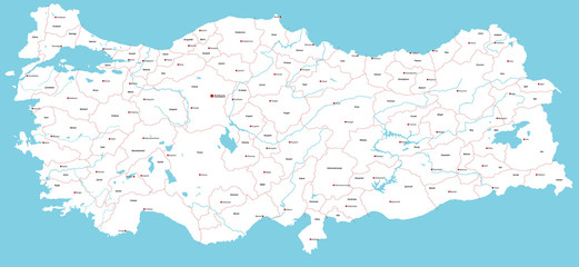 A large and detailed map of Turkey