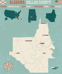 Large and detailed map and infos about Dallas County in Alabama