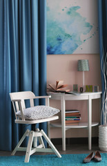 Design interior with wooden chair and nightstand indoors