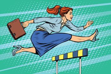businesswoman running hurdles