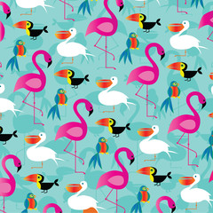 tropical birds pattern