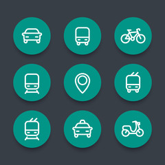 City and public transport round green icons, public transportation vector icons, route, bus, subway, taxi, public transport pictograms, thick line icons set, vector illustration