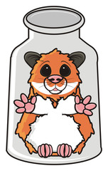 hamster, pet, comic, cartoon, isolated, animal, rodent, bank, glass, container, close, plant, hold, transparent, hepl