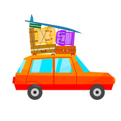 Cartoon red car with a lot of luggage on a white background. A c
