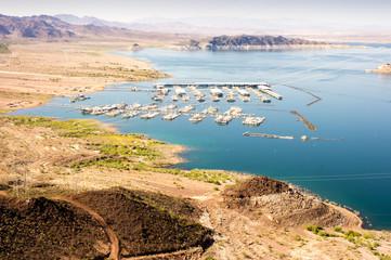 Fond de hotte en verre imprimé Port Las Vegas Boat Harbor, Hemenway Harbor on Mead Lake, Nevada