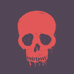 t-shirt print with red skull, vector illustration