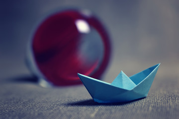 colored paper boats